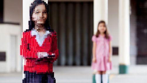pixelated student