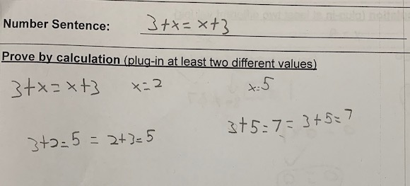 number sentence proof that demonstrates a misunderstanding of equality and the equal sign