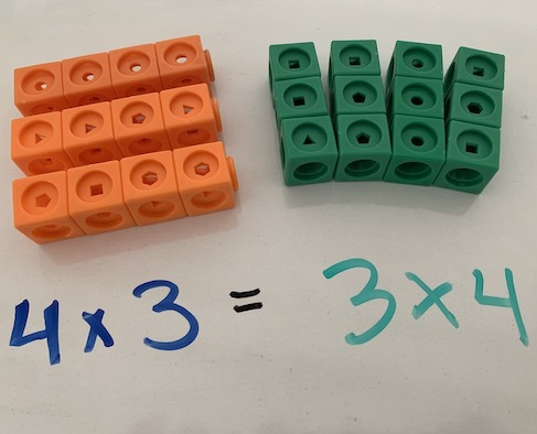 Example from manipulatives and visual models workshop for elementary school math uses unifix cubes to demonstrate commutative property of multiplication