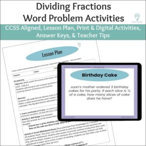 Dividing Fractions Word Problem Activities
