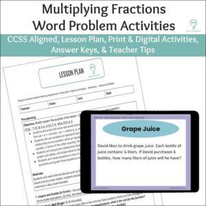 Multiplying Fractions Word Problem Activities